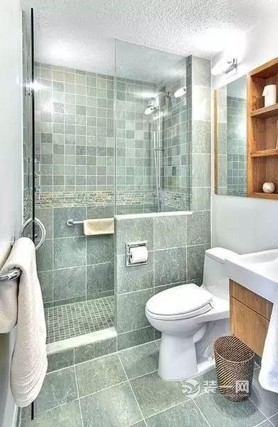 卫浴间装修设计效果图 浴帘比玻璃门透气,各种色调图案任你挑.