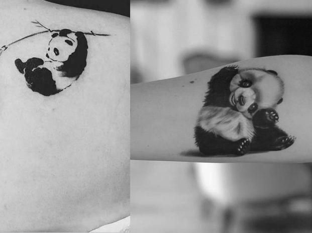 纹身师   可爱熊猫纹身集合图片