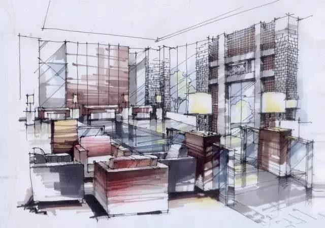 酒店室内手绘表现成角透视图