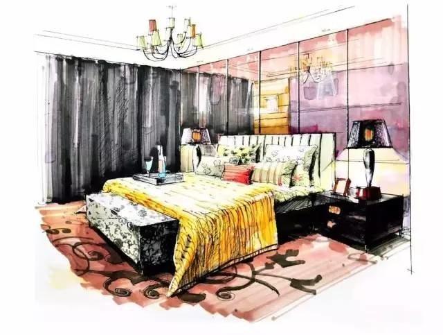 马克笔手绘卧室上色两点透视图