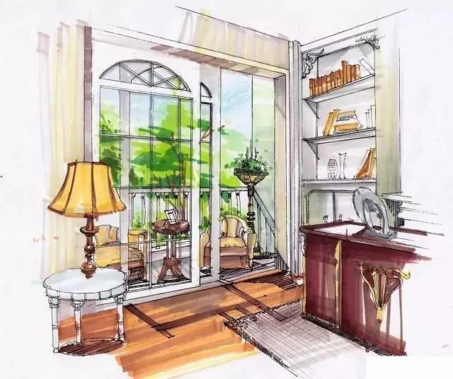 欧式书房与阳台手绘表现图