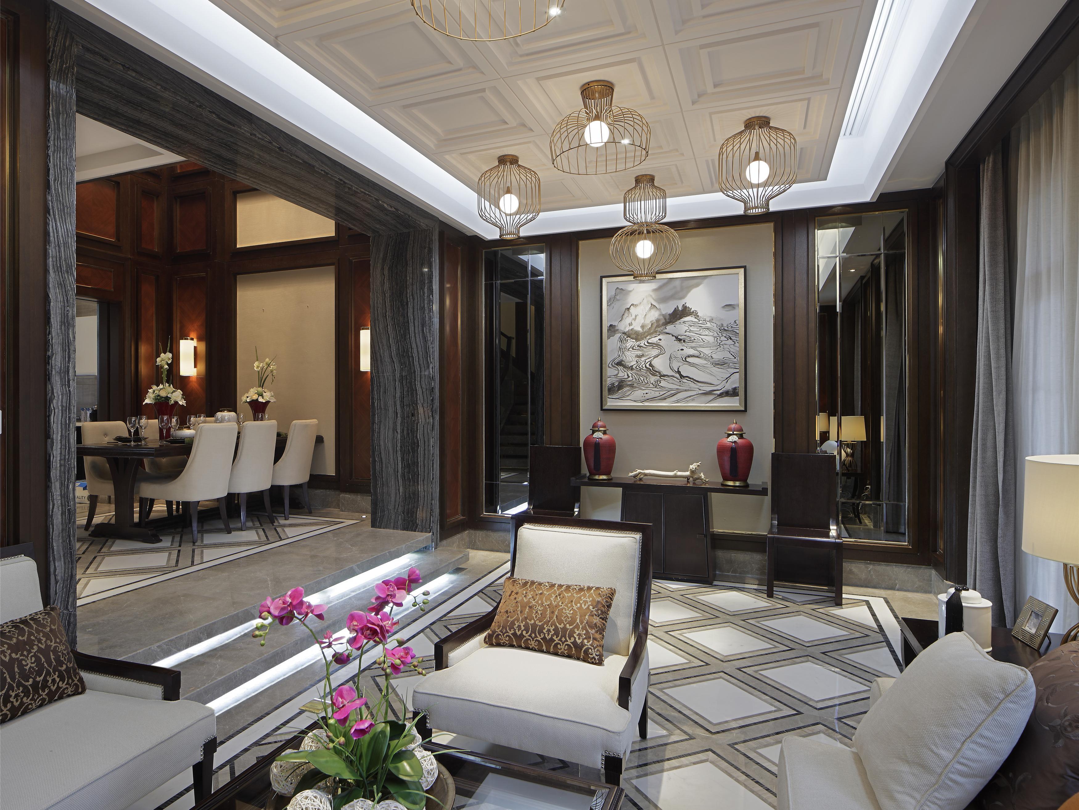 350㎡高端别墅装修,新中式风格,室内旋转楼梯图片