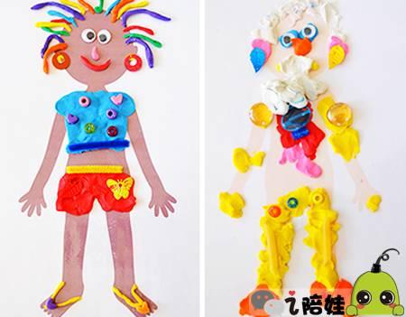 再来挑战服饰,娃可以使用各种颜色的橡皮泥制作小人的衣服,头发.图片
