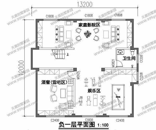 带地下室农村3层别墅设计图,12x13.2米大气美观!