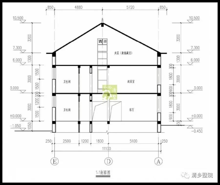 图纸目录   建筑施工图   建筑设计说明、一层平面图、二层平面图、屋顶平面图、正立面图、背立面图、左立面图、右立面图、门窗表、楼梯平面图、1-1剖面图、节点详图;   屋顶设置简单大方,凸显住宅的整体性.