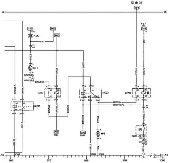 别克赛欧散热器电子扇电路图 仪表板左边的导线接线盒内的熔丝20#30A和熔丝14#30A为发动机冷却风扇供电。 在低速运行过程中,动力系统控制模板PCM通过低速风扇控制线路为继电器K51线圈提供接地线路,继电器K51触点闭合,使电流从熔丝20#30A通往发动机冷却风扇。发动机冷却液风扇马达RH通过串、并联冷却风扇继电器K52和发动机冷却液风扇马达LH 接地,形成一个串联电路,使两个风扇都以低速运转。 要对冷却风扇的高速运转进行控制,PCM首先通过低速风扇控制线路为继电器K51提供一条接地线路,在经过3s
