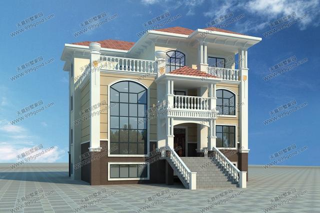 带地下室农村3层别墅设计图,12x13.2米大气美观!图片