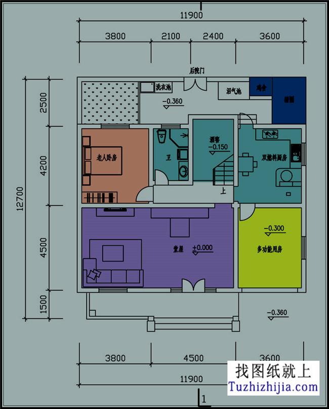 简单大气二层自建小别墅设计cad施工图纸带效果图