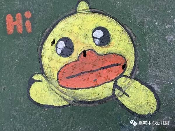 井盖卡通动物手绘