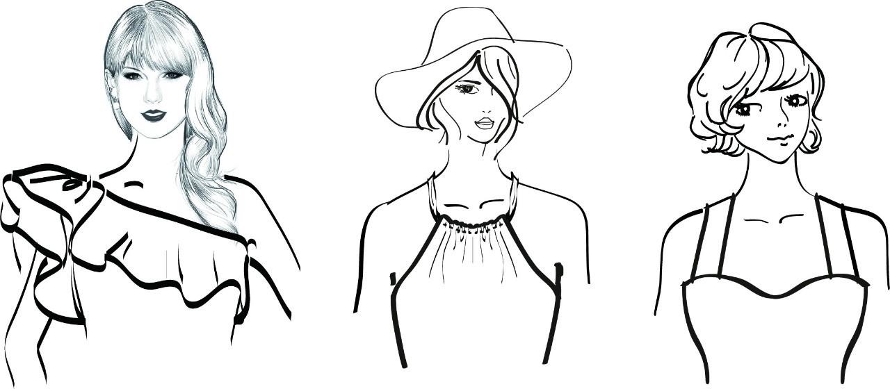 服装领型分类手绘版