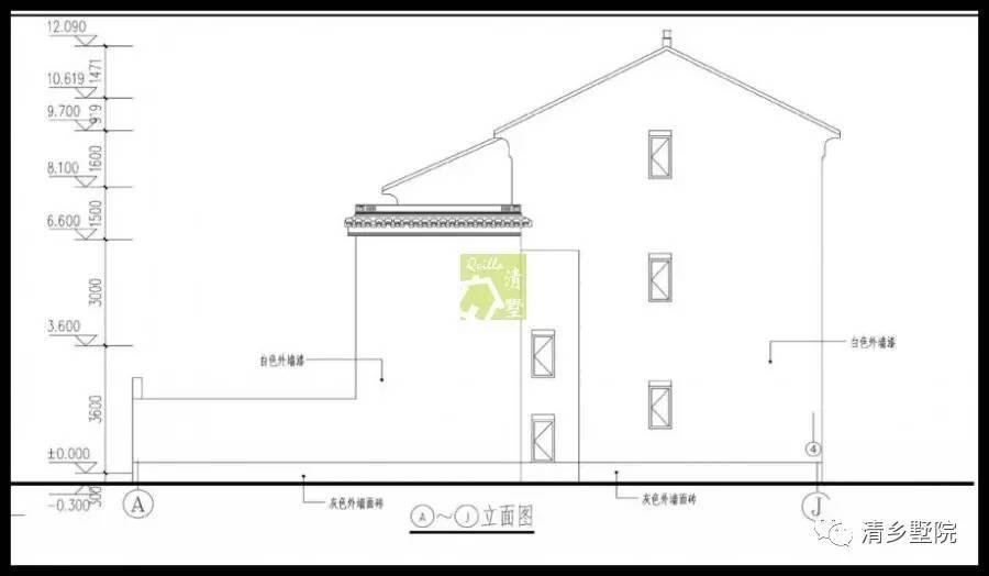 图纸目录   建筑施工图   建筑设计说明、一层平面图、   二层平面图、   屋顶平面图、正立面图、背立面图、左立面图、右立面图、门窗表、楼梯平面图、1-1剖面图、节点详图;   屋顶设置简单大方,凸显住宅的整体性.
