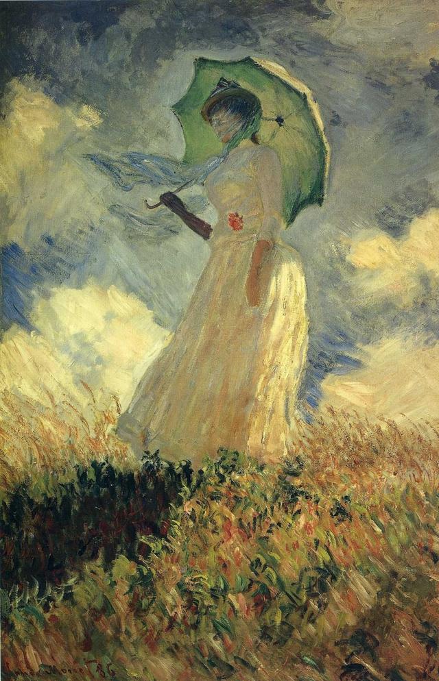 1886年悼念亡妻卡美伊,莫奈画了一幅《撑阳伞的女子》.图片