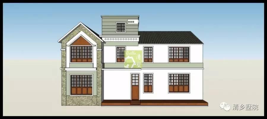 00米x14.50米二层乡村自建别墅设计案例vt015