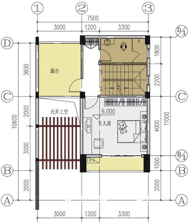 5x10.6米农村别墅 带前院天井 中式风格含平面图