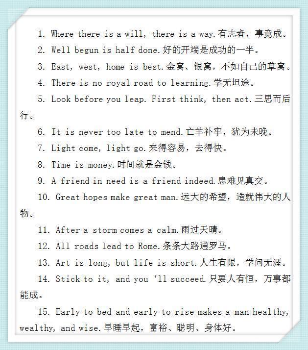 英语百条经典谚语,你知道几条?