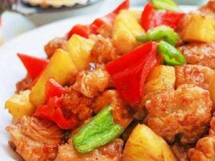 菠萝咕唠豆腐,每次去饭店必点的一道菜