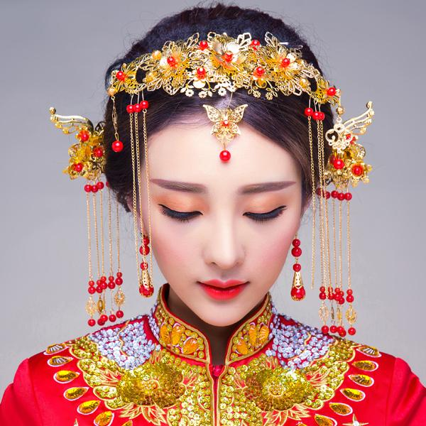 新娘妆头饰整体造型皇家金孔雀图片