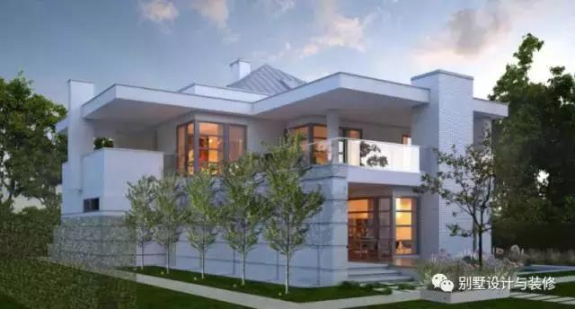 此别墅外观简约不简单,白色的建筑配色,不但不会觉得单调,反而给人一