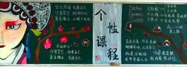 """还有各种动漫人物 在上海戏剧学院附属高级中学 """"中国风""""黑板报也很"""