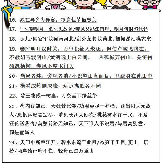 老师语文期末必考:24个小学总结古诗题-搜狐教十首七必小学生背图片