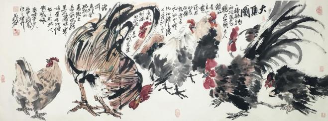 晁谷画鸡展即宏宝堂迎新春书画名家作品展图片