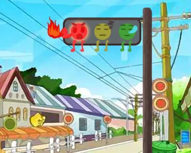 国画马路红绿灯