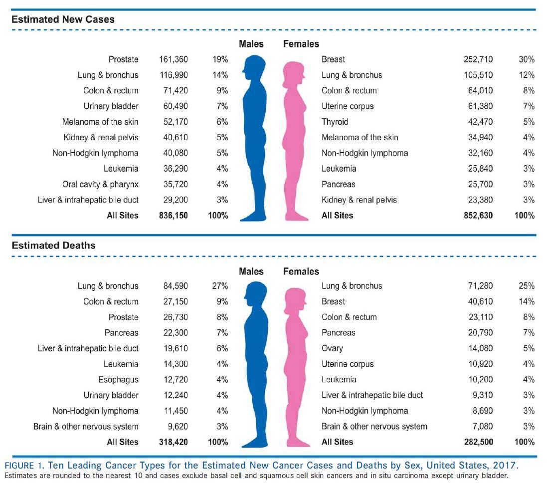 美国2017年癌症统计