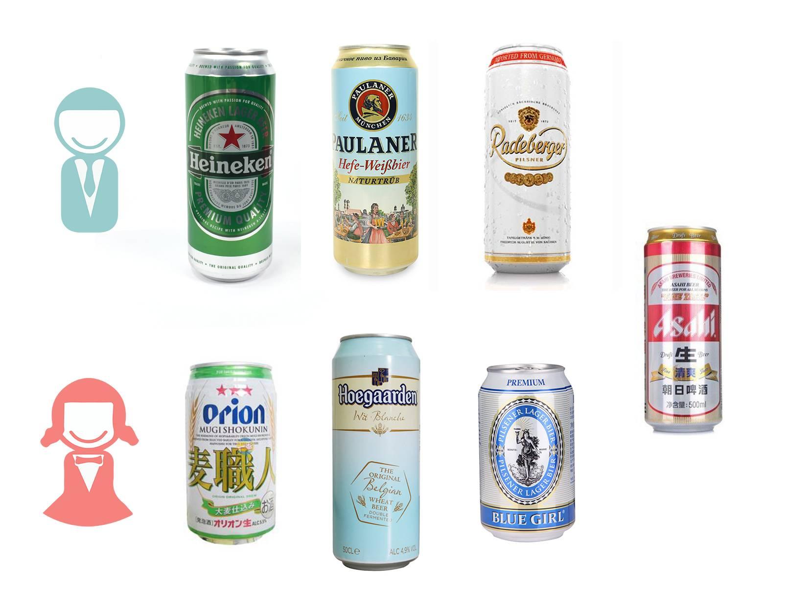让觅食菌和小伙伴们喝嗨了 口味最佳的酒都在这里啦   还不快马克起来~   男生款   喜力全麦芽自然纯净啤酒   柏龙酵母型小麦啤酒   兰德博格皮尔森啤酒   朝日生啤酒清爽   女生款   奥利安麦职人啤酒   福佳白啤酒   蓝妹啤酒   朝日生啤酒清爽