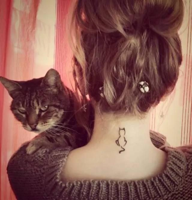 猫咪头像纹身图案女生分享展示