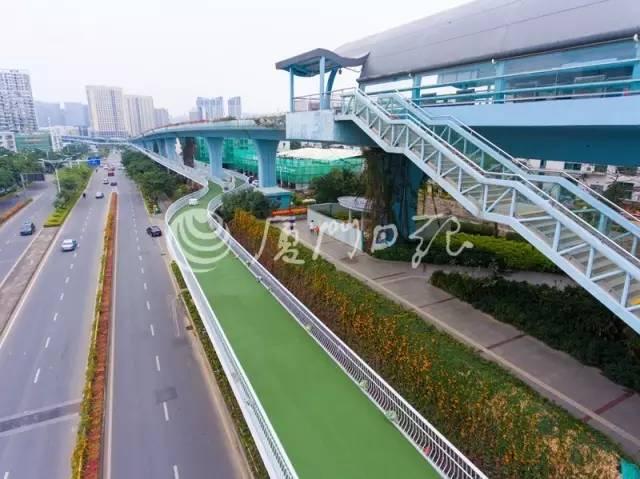 全线共建设了7个平台,共设置了355个公共自行车停车位和253个社会