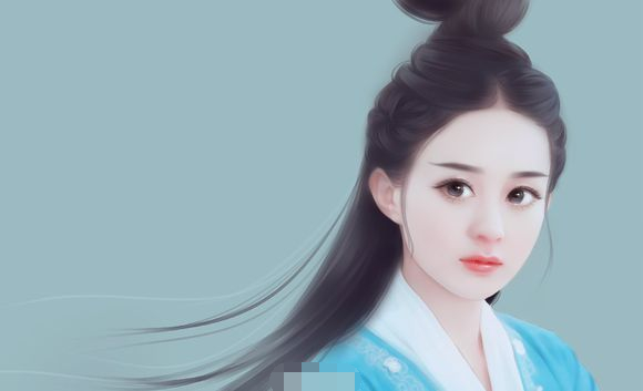 赵丽颖古装手绘图,国色天一个仙字没法表达