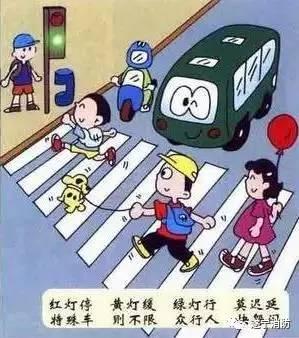 走路要走人行道,骑自行车要走非机动车道,横穿马路要看清信号灯,绿灯