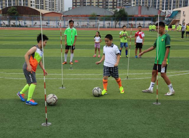 """学校足球游戏:带球过""""阻滞""""折返"""