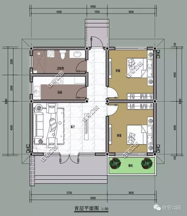 共设4室2厅1厨1卫2门斗1走廊,防寒门斗和火炕的设计更适合北方农村