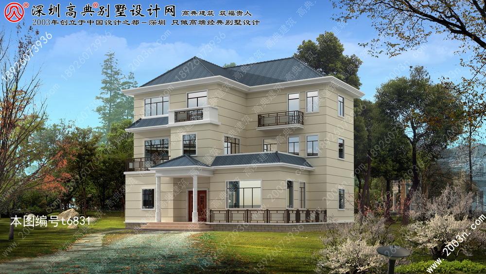 图纸设计别墅及效果图首层149平方米别墅绿化树图片