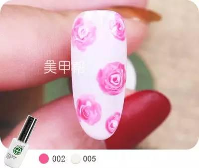 你求我教   艳丽玫瑰美甲教程图片