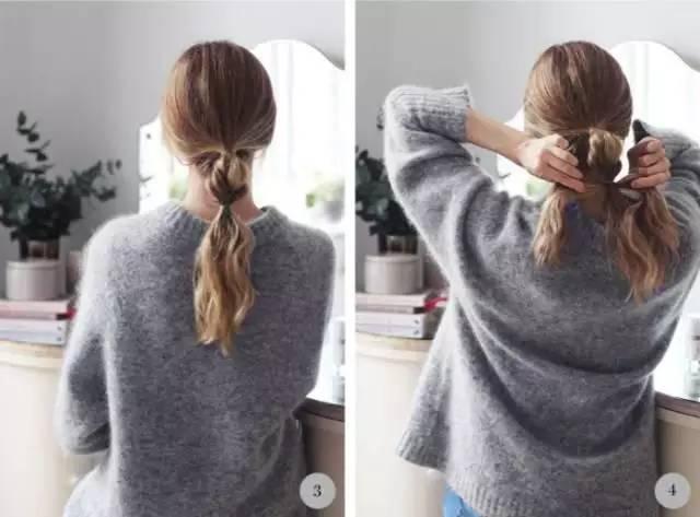 再继续将剩余的头发编出一段小辫子,编完后收尾扎紧,然后稍稍拉成球型