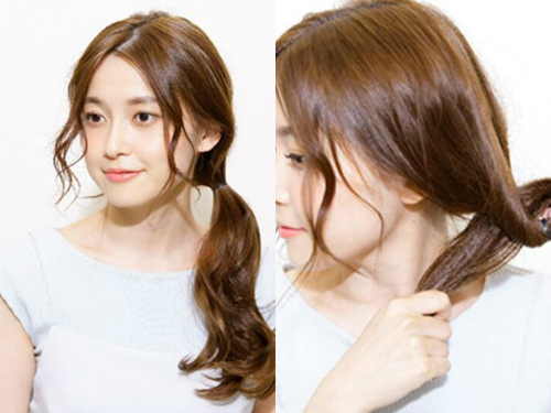 优雅浪漫风韩式低马尾发型扎法图片