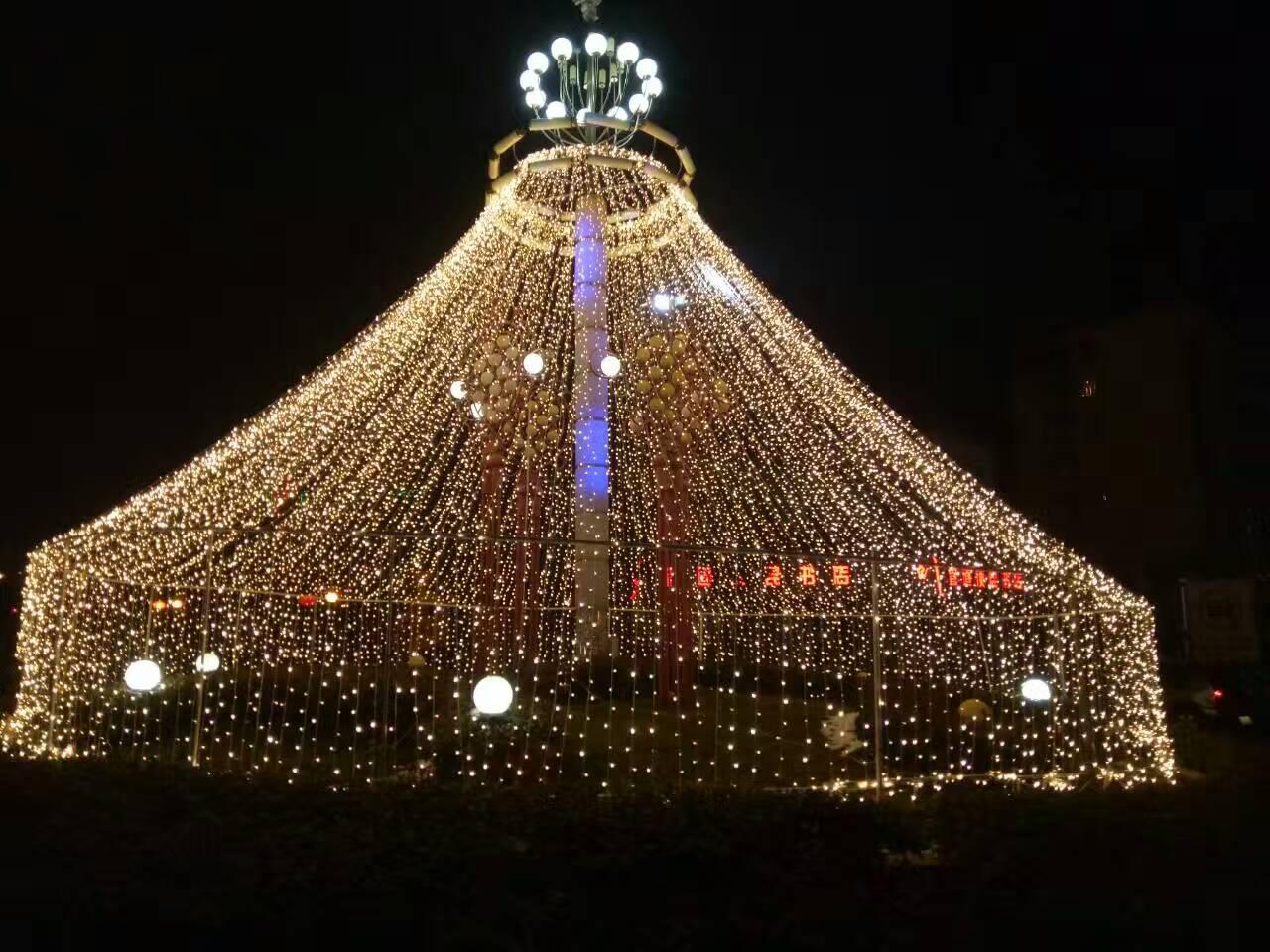徐州 贾汪潘安湖绚丽多彩的灯光节景色