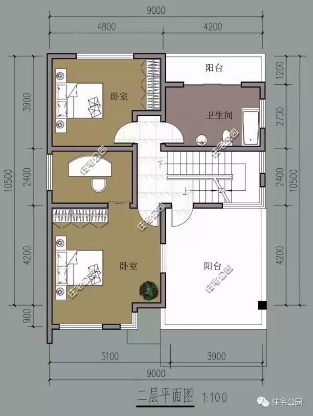 二层双卧室,主卧为一个套间,独立设计.图片