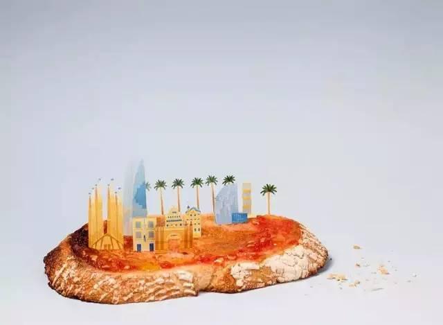 brunch city食物上的城市剪影图片