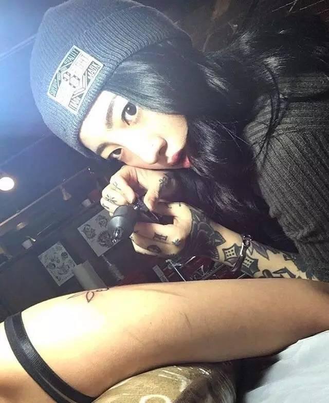 纹身素材 | 韩国美女纹身师nini 适合女生的暗黑系小