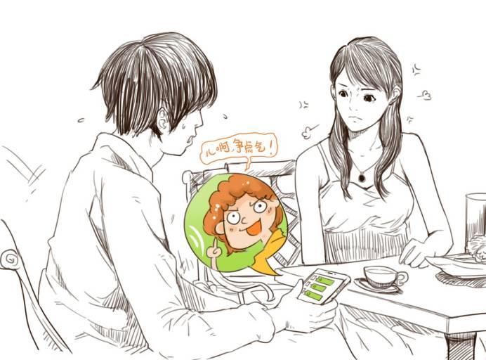 半侧面女生手绘漫画