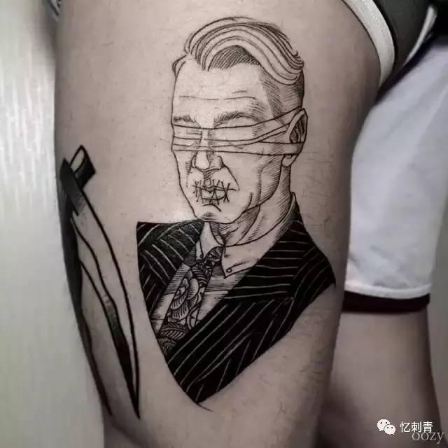 错落有致的线条纹身
