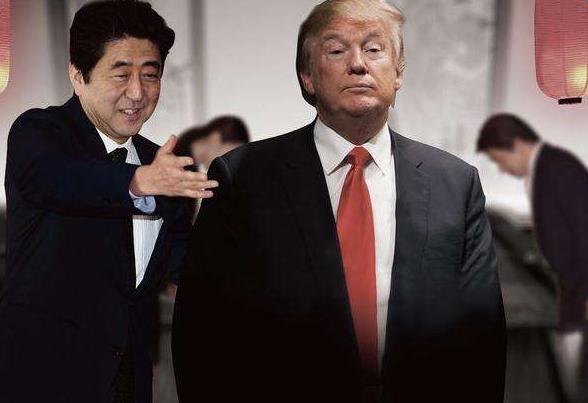 安培/特朗普 日本首相安倍晋三预定于2月10日与美国总统特朗普在美国图片
