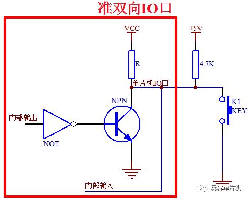 npn 三极管不会导通,那么单片机io 口从内部来看,由于上拉电阻 r 的