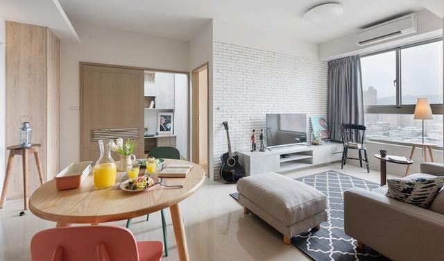 65平米淺木元素簡約公寓,單身女性也要住的很講究
