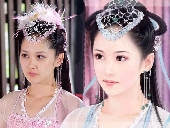 女星手绘古装,闫妮前后差距大,刘亦菲本人更美!