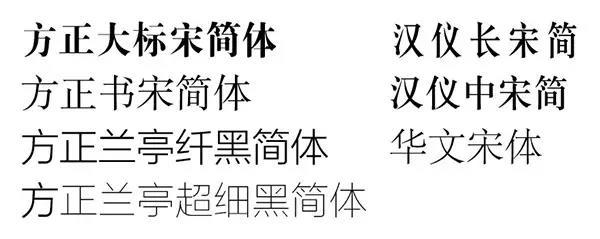 手机上用的各式字体