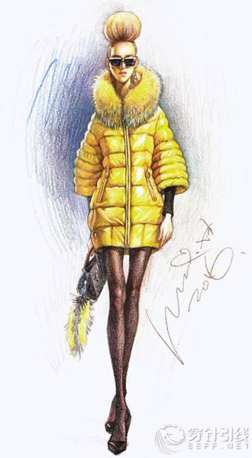 [原创款式图] 大鸽彩铅时装画